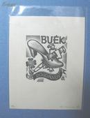 藏书票:Drahos 匈牙利名家《BUEK》(木版)