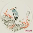 (名家字画),【真迹】 ,包真, 陈敬免  ,青年花鸟画家 ,小品写意 ,花鸟圆心,直径尺寸:32厘米