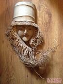 旧竹根雕【竹女】面容安详,恬静温柔/长33厘米,宽11.5厘米
