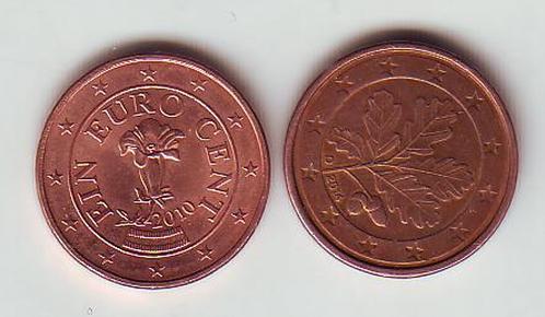 外国钱币硬币(特价):德国奥地利欧元辅币1分2枚合售图片
