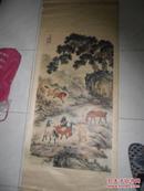 80年代杨柳青画社 巨幅 挂轴式 年画 马秋岩 八骏图  见图
