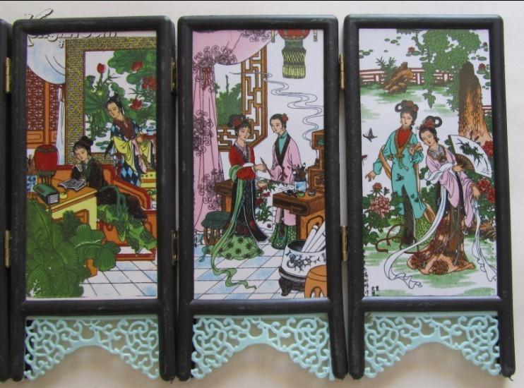 《红楼梦》金陵十二钗瓷板画屏风--景德镇陶瓷大师杨树林作品图片