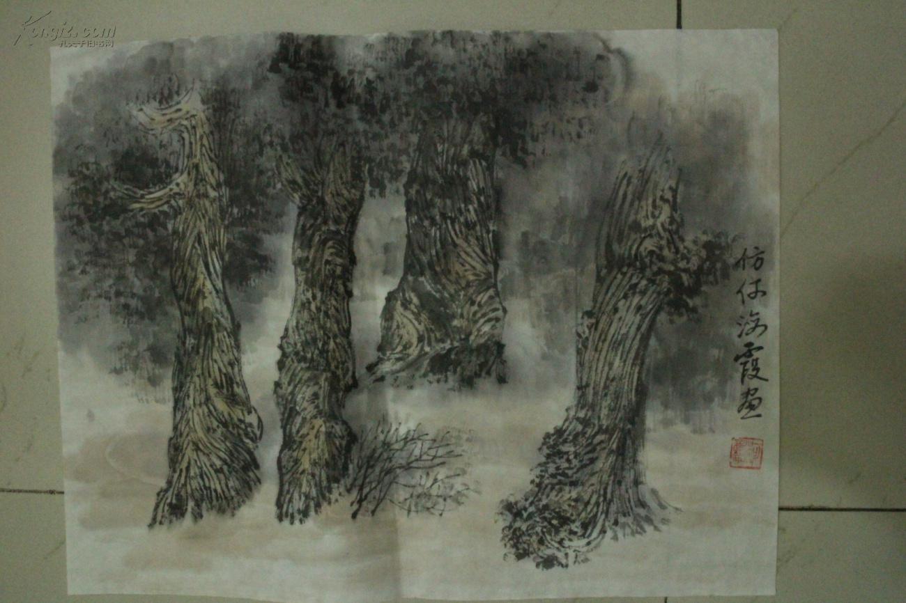 名家国画手绘山水画 横幅 软片 仿何海霞山水图片