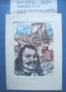 藏书票:《主题西班牙海军司令Rugter(1607-1676)图案》比利时  Paul Hedwig 铜版混合 套色 有签名