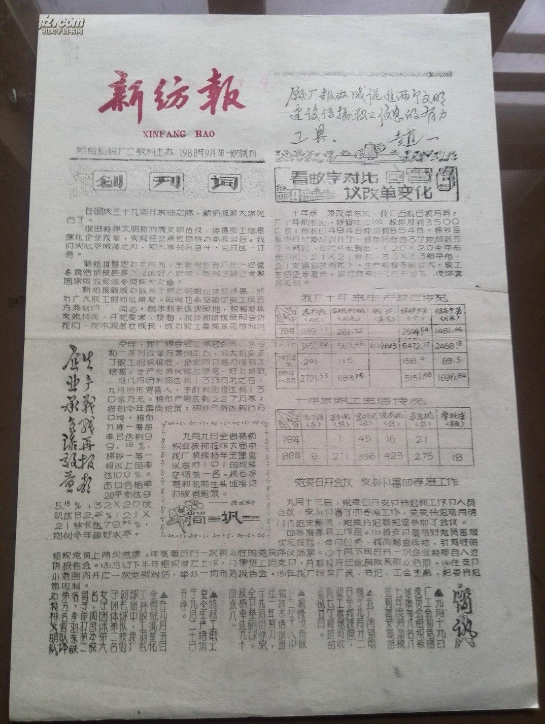试刊号:新纺报88年(有创刊词)