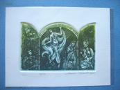藏书票:《天方夜谭故事图案》拉脱维亚Marina Terauds(女) 酸刻 有签名