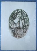 藏书票:《古装女子图案》捷克Reneta Keiserova(女) 金属板双色套印