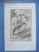 藏书票:《舞蹈者和乐谱图案》奥地利 Leonardi