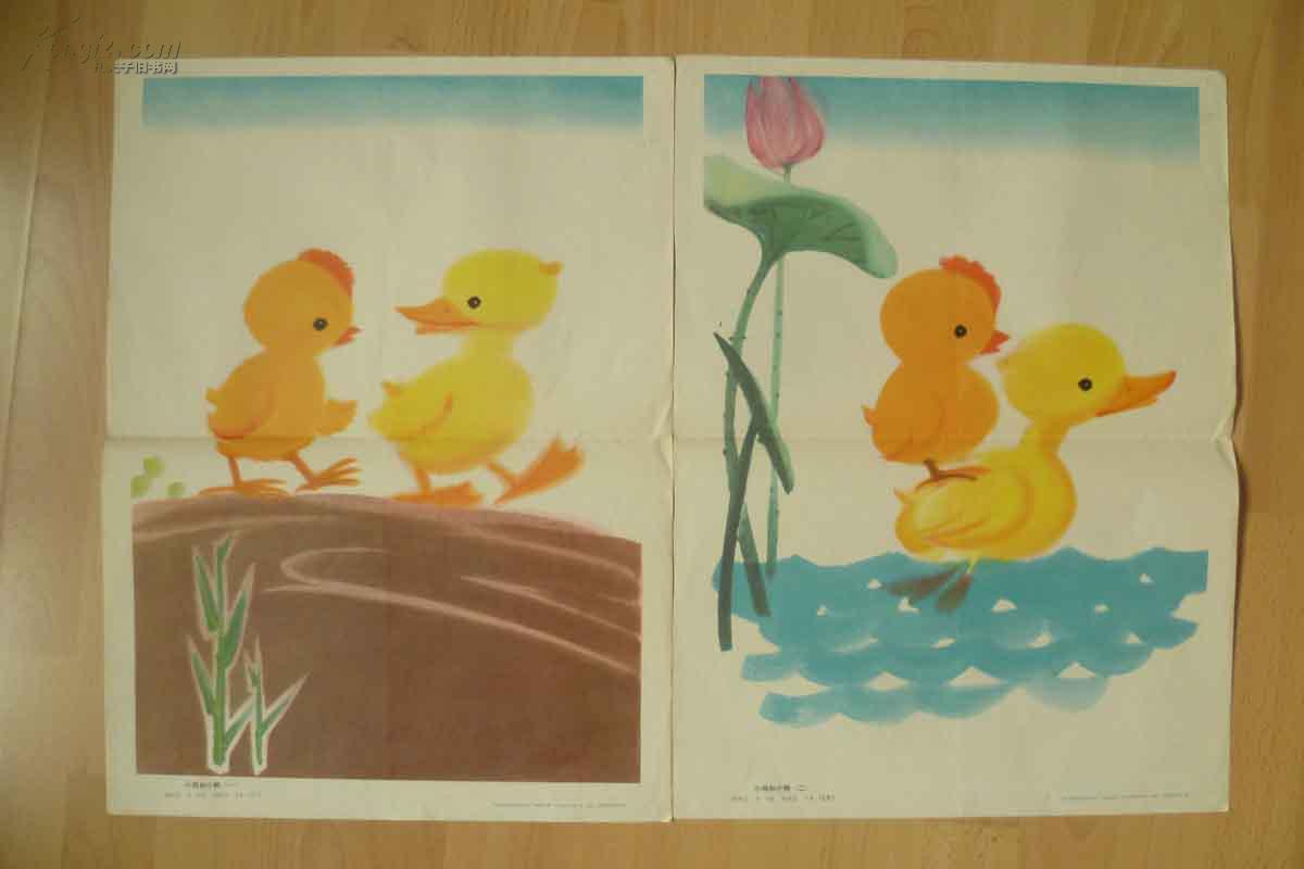 园看图说话教学图片 小鸡和小鸭 4幅全 孔夫子旧书网