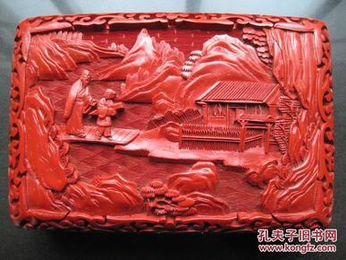 日本回流《人物雕漆宝物盒》漆膜厚雕工好难得一见
