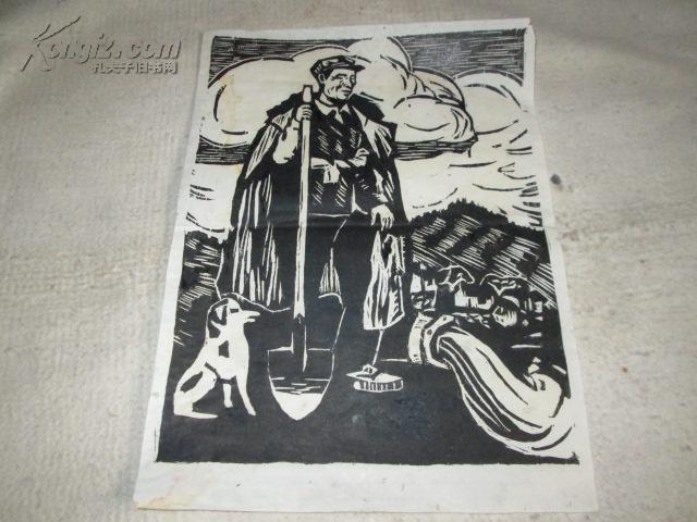 黑白木刻版画5图片