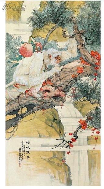 刘奎龄0007蟠桃献寿图/书画纸尺寸45x88米/工笔画