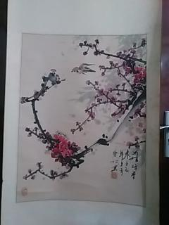中国当代著名书画家:崇顺--花鸟一副(原裱,立轴.图片