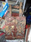 【包老】收来一对 龙凤呈祥 手工雕刻厚木块 见图见描述
