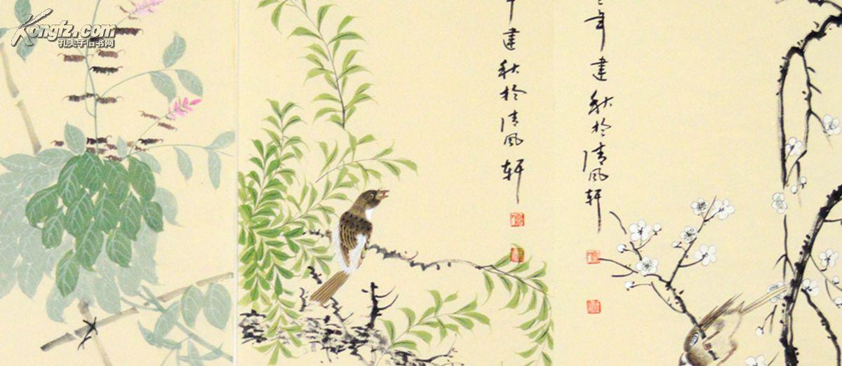 花鸟画四条屏春夏秋冬系列图片