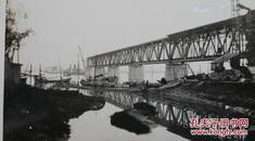 民国老照片:民国——杭州钱塘江大桥(江苏镇江人——茅以升主持设计)——正在建设中的——十分珍贵!有背题。1937年4月26日