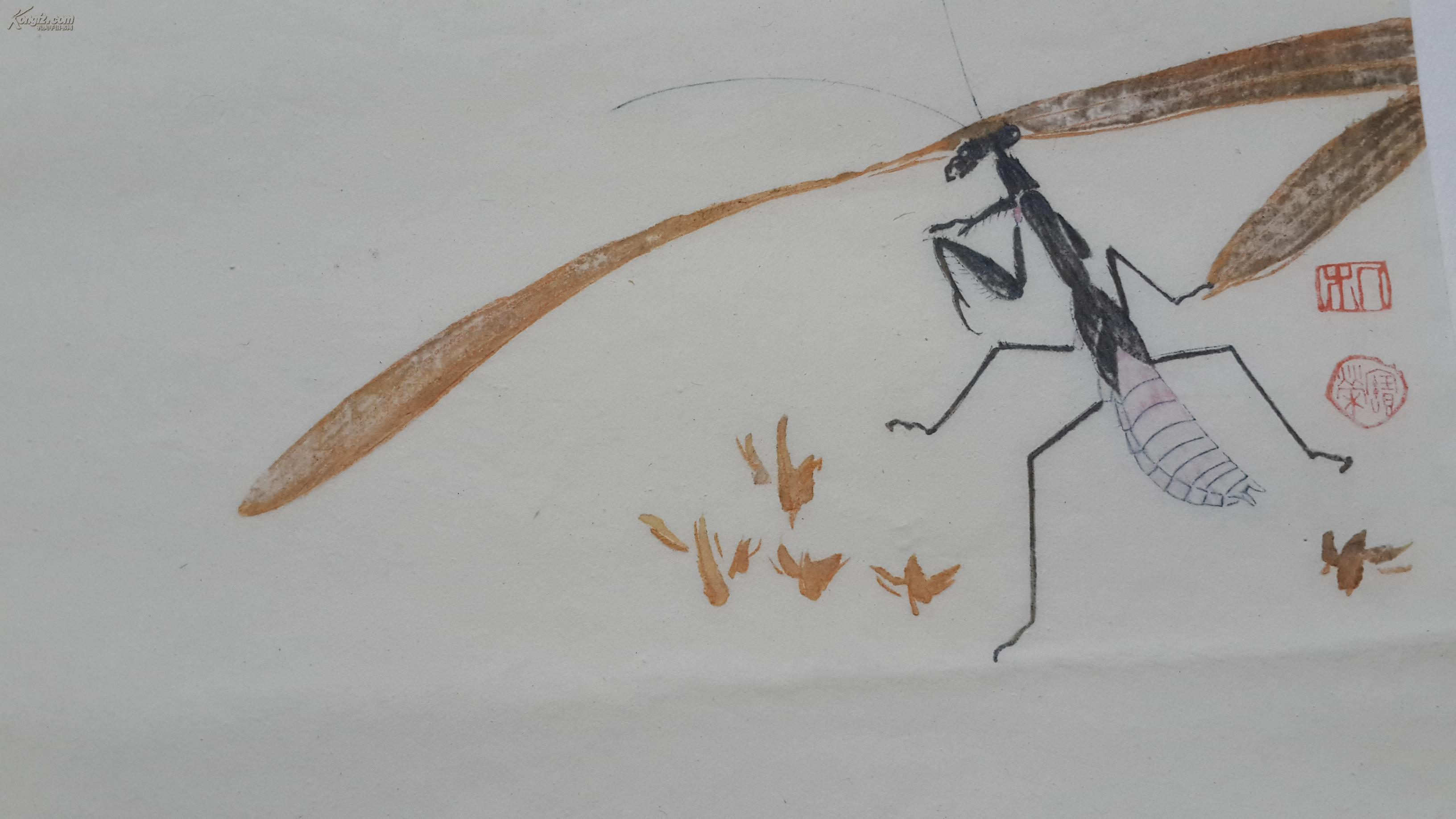 民國榮寶齋--套色木版水印齋信箋:-齊白石工筆草蟲畫箋四種之第(3)種