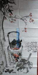 名人字画(藏品!)【黄少安】四尺整宣国画《花鸟》~~老兄佳作.友情无价画有价,别以为图片中间的水印数字是藏家手机号码哈,是售价!