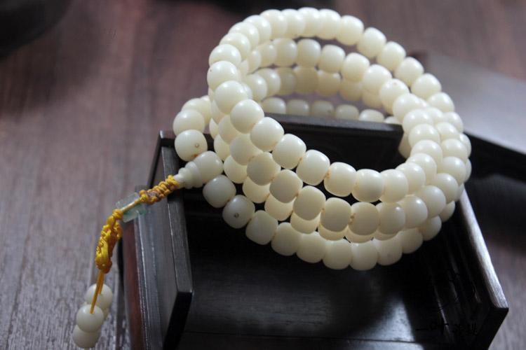 批发 藏式108颗白玉菩提根佛珠桶珠手串正月正眼项链念珠男款女士图片