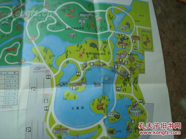 上海野生动物园游园指南 80年代 8开 手绘三维立体鸟瞰图 富士胶卷
