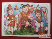 保老保真 年画2开《铁弓缘》1987年1版1印 张长青作 武强年画社