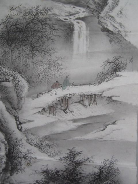 山水雪景 印刷国画一幅 135*70厘米图片
