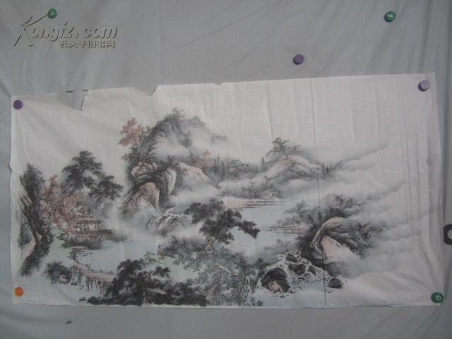 山水風景樓閣 印刷國畫一幅 136*70厘米
