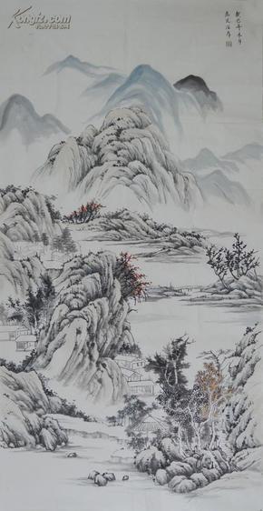 四尺整张竖幅仿古水墨山水画作品ss0473图片