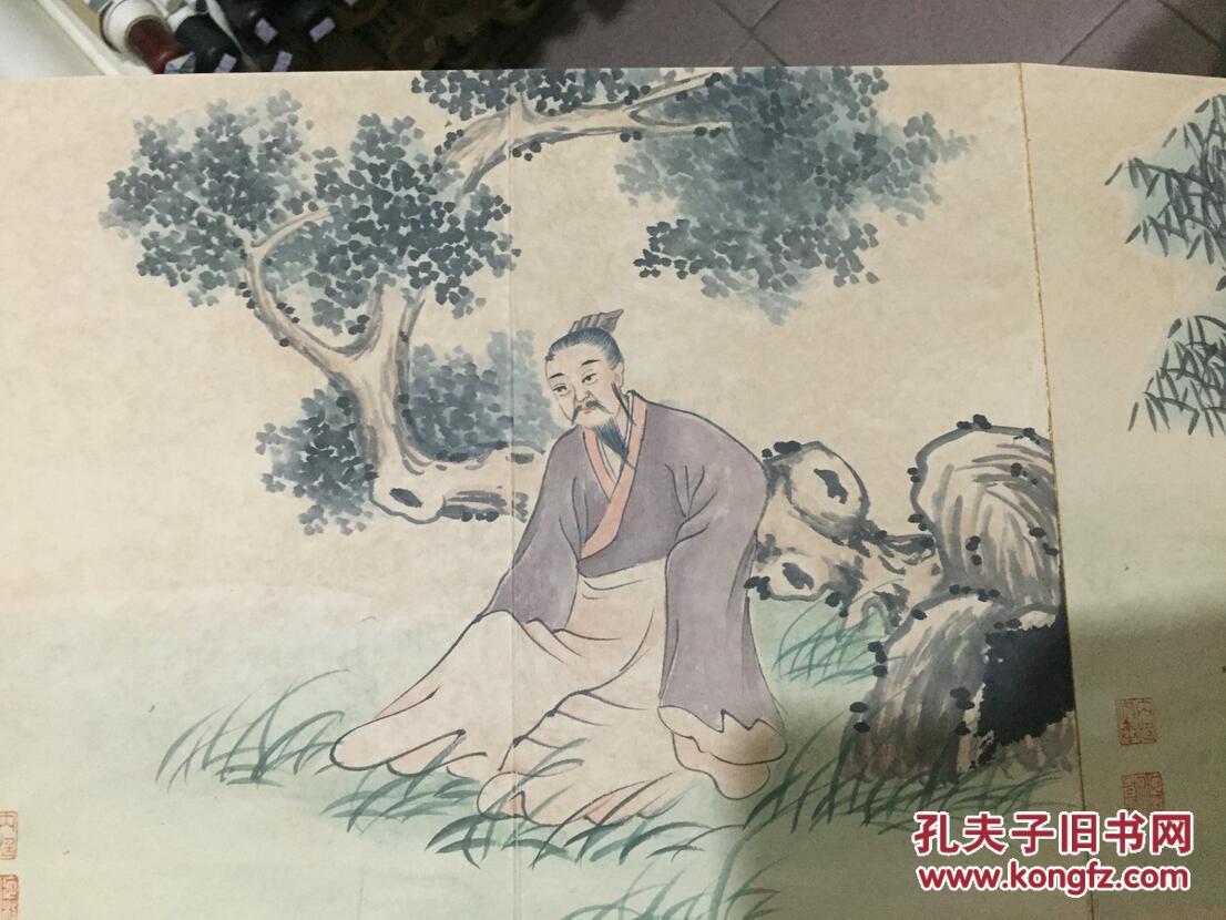 收来的一本老画册 全手绘 清代宫廷画家冷枚人物册页 焦秉贞弟子.