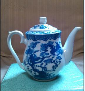 00 收藏的六七十年代老瓷器 景德镇 青花松鹤延年茶壶