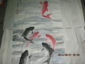 国画大师周怀民之子著名画家周国良作品【鲤鱼跃龙门】保真