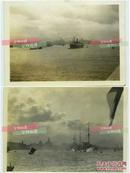 民國上海黃浦江江景與來往船支艦隊,兩張民國銀鹽老照片。