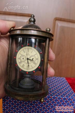 精美老黄铜 欧米茄古堡机械表 钟表 座钟 手动上劲图片