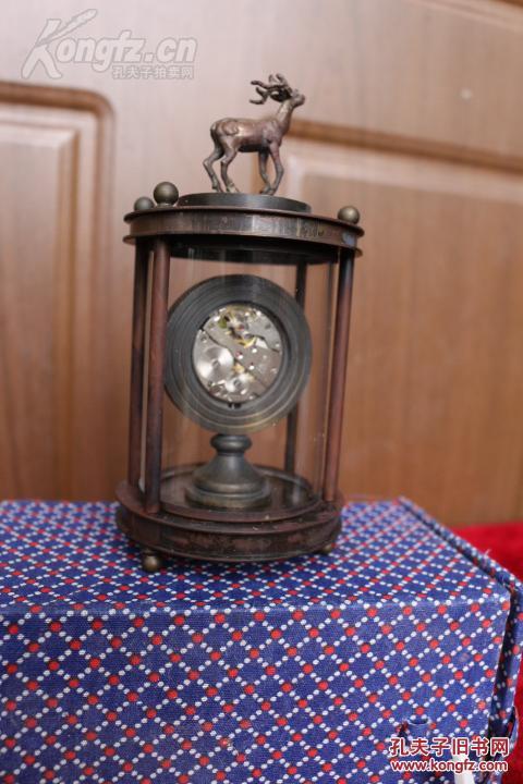 精美老黄铜 欧米茄小鹿机械表 时钟 座钟 手动上劲图片