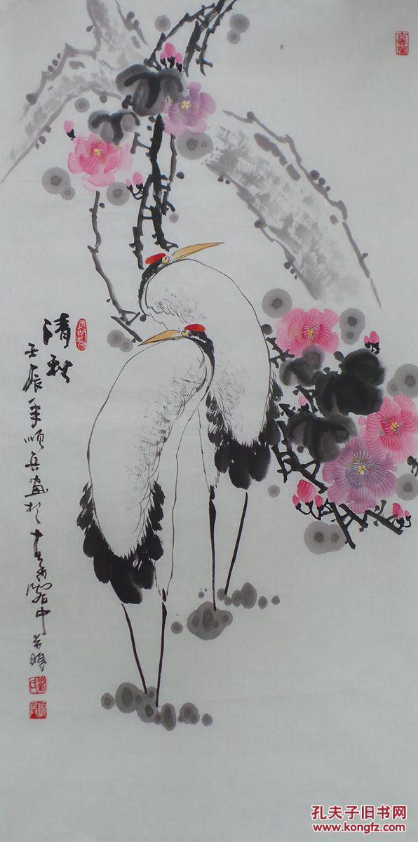 三尺整张国画写意花鸟 画仙鹤 清秋 g