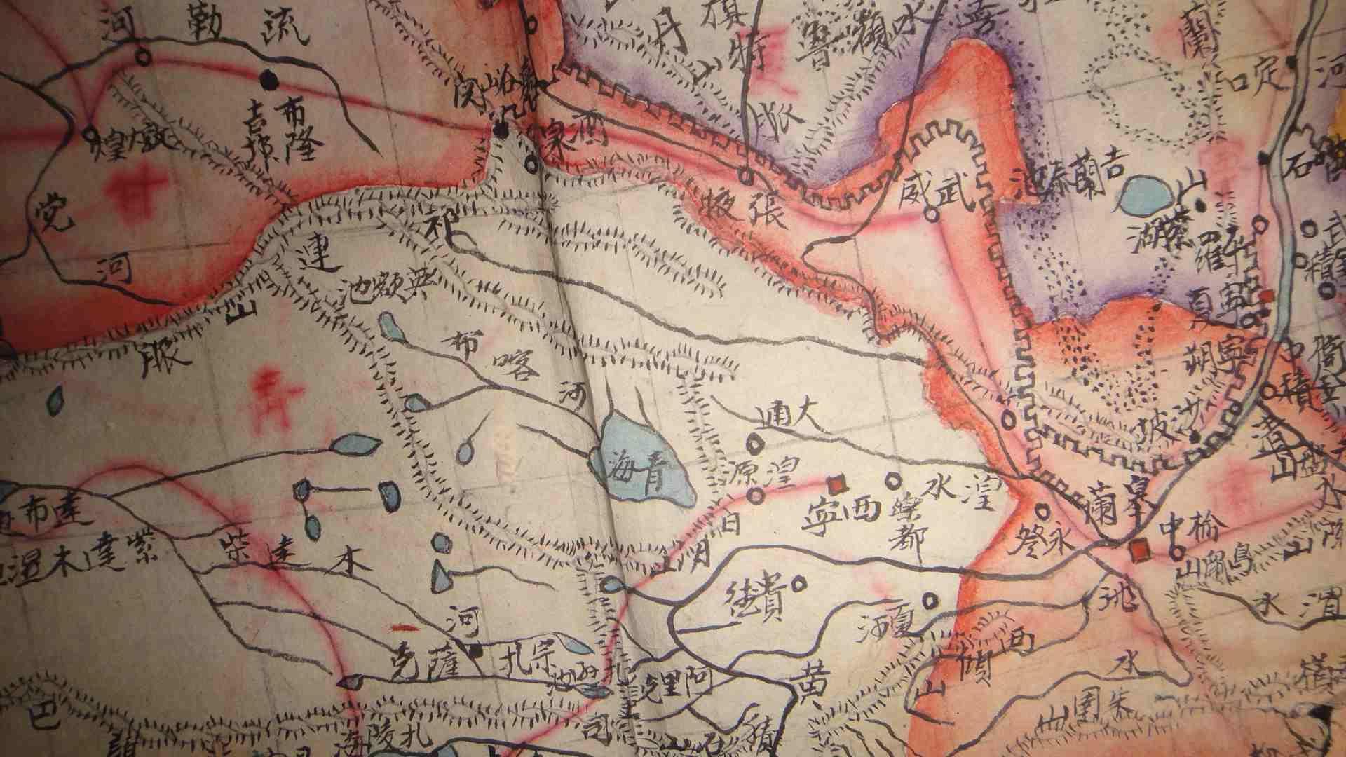 【图】民国彩色手绘地图-陕西-安徽-甘青宁3张