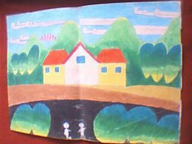 江苏省运河高师美术系毕业生蜡笔画:家乡美(此为绘画原作,非印品;其图片