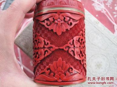 日本回流雕漆《铜胎镏金剔红茶叶盒》