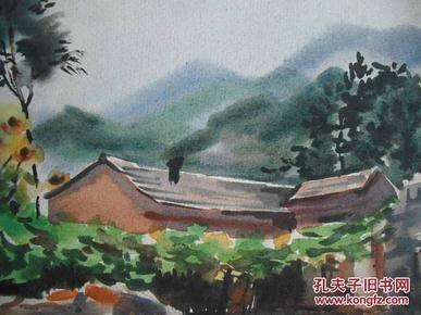 李咏森水彩画 山村风景1