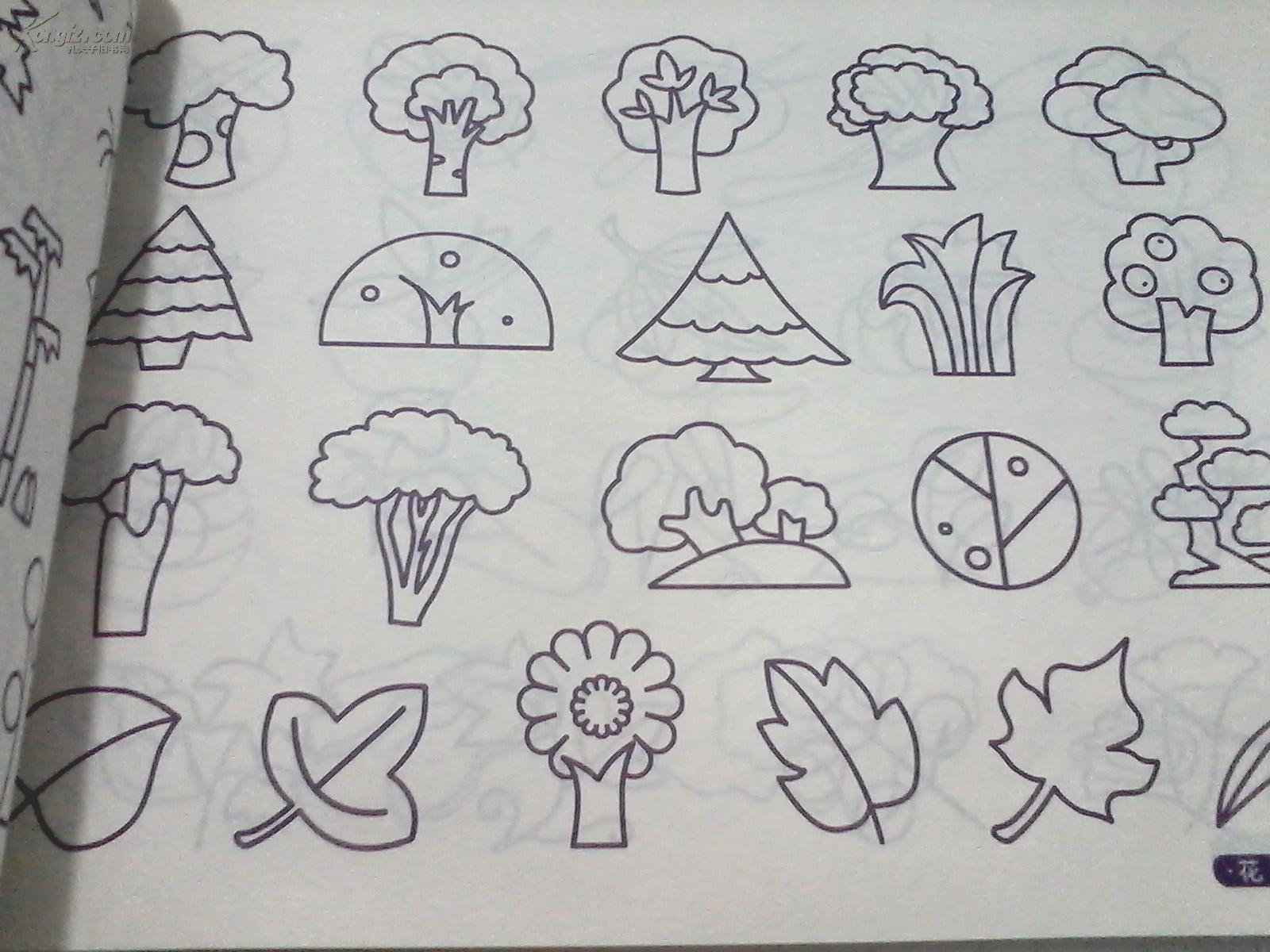 用简单的线条描画了动植物,生活用品,交通工具,建筑风景以及人物.