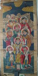 清代道教繪畫珍品:道教繪畫八王 道教人物八個  繪畫精美[內框直徑65x150cm]