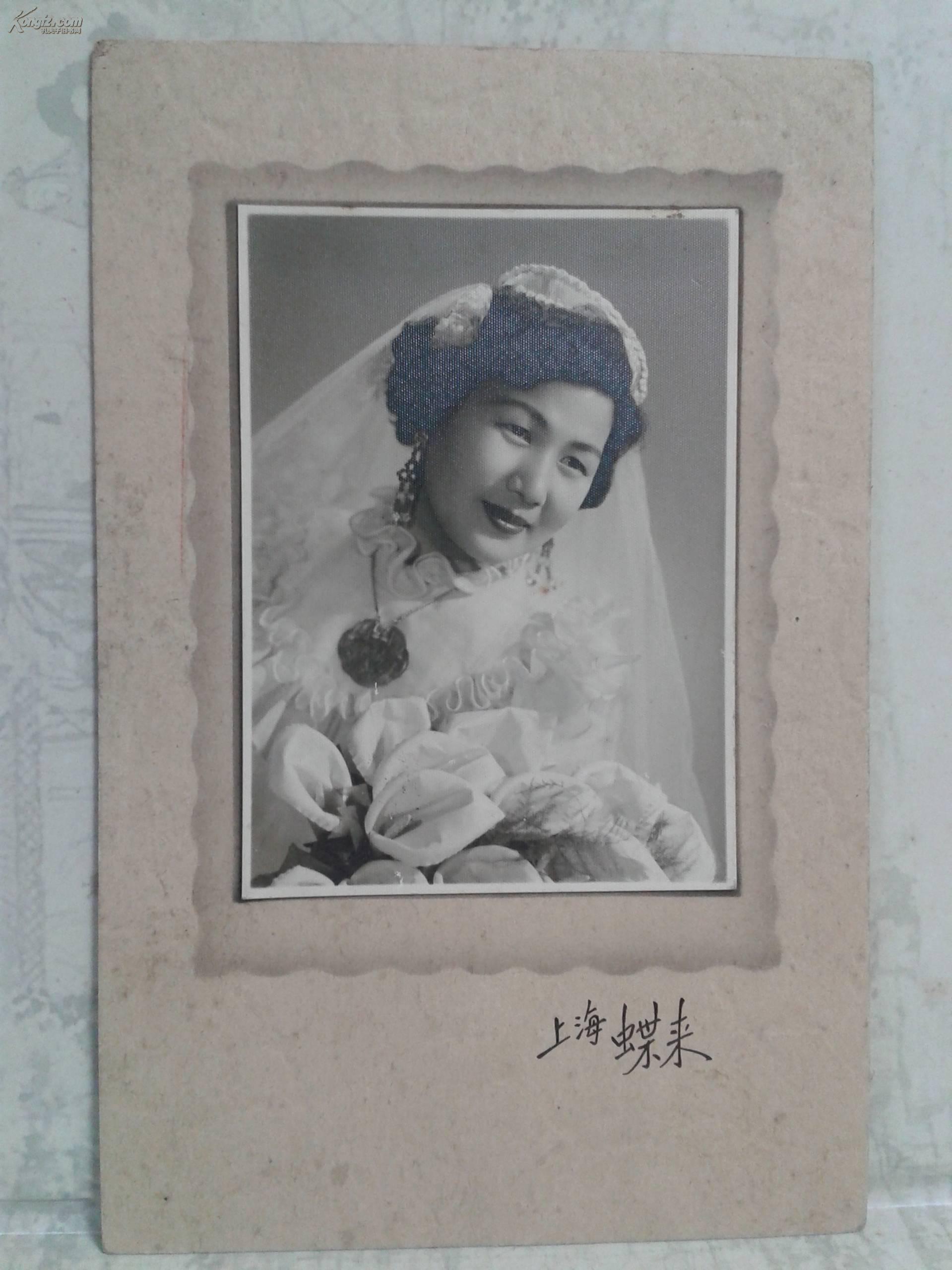 50年代初上海女的单人结婚照高清图片