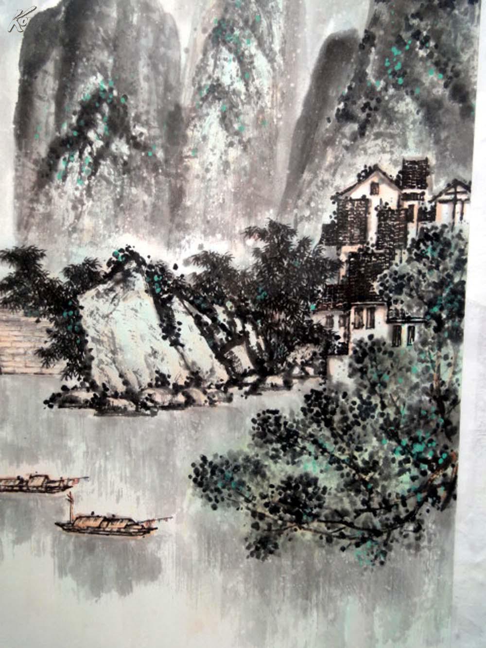 安徽著名老画家【颜语】四尺整张-----山水图片