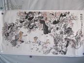 中國當代著名中國畫畫家 朱理存  人物國畫一幅 尺寸68*134厘米