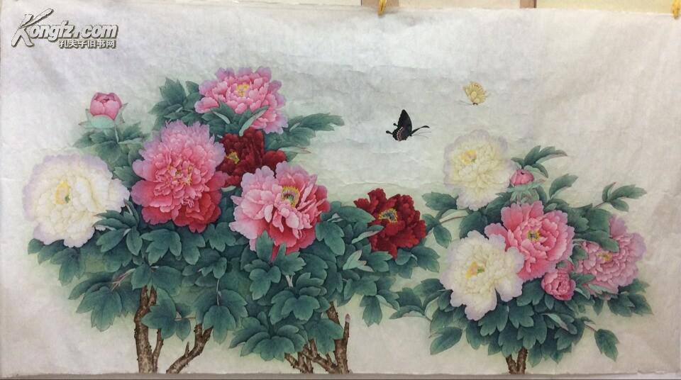 周中耀牡丹图-工笔画-花鸟画-六尺横幅-十八平尺 拍品编号:16044222图片