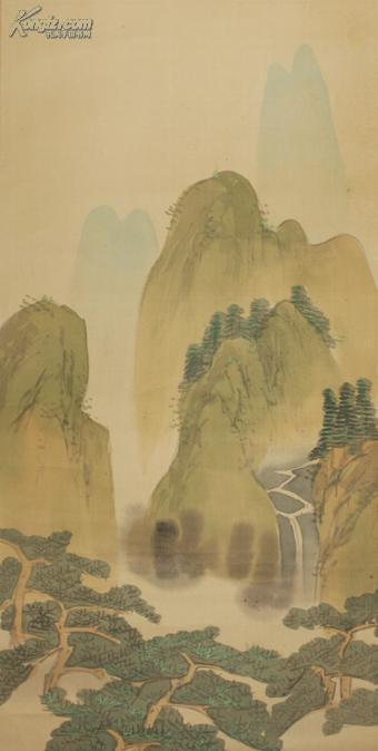 绢本老画 立岭的春景山水图图片