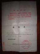 批準參加內蒙古生產建設兵團通知書  1969