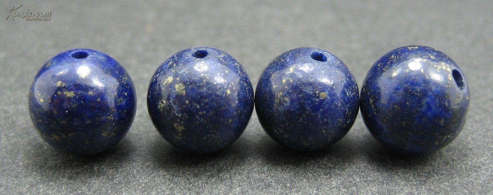 古代西藏真正4颗圆形青金石161n,海外回流,保真