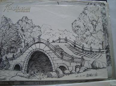 手绘钢笔画 园林风景约30张 花卉等约30张 27 20厘米 合售