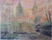 水彩画《红叶谷》 原创